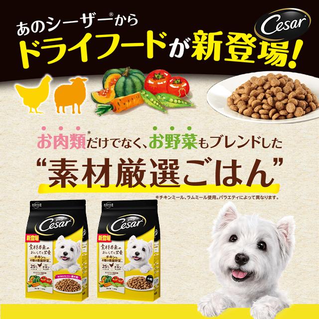 シーザードライ チキンと4種の農園野菜入り 超小粒/小粒(成犬用)